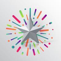 Grå 3D-stjärna på färgstark bakgrund, vektor illustration