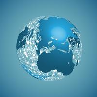 Weltkugel auf einem blauen Hintergrund, Vektorillustration vektor