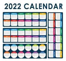2022 Kalendervektor Englisch voll editierbar vektor