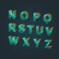Realsitic glas och trä typsnitt set, vektor illustration