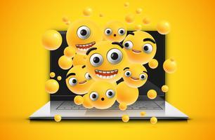 Hoch-ausführliche Emoticons auf einem Notizbuchschirm, Vektorillustration