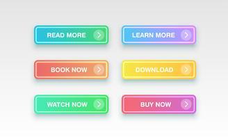 Färgglada rena knappar för webbplatser, vektor illustration