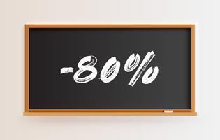 Hög detaljerad svart tavla med '-80%' titel, vektor illustration
