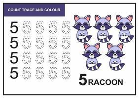 Zählspur und Farbe Waschbär Nummer 5 vektor