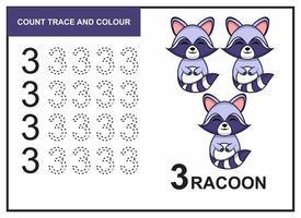 Zählspur und Farbe Waschbär Nummer 3 vektor