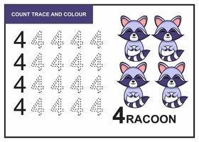 Zählspur und Farbe Waschbär Nummer 4 vektor