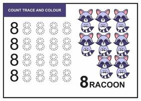 Zählspur und Farbe Waschbär Nummer 8 vektor