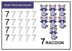 Zählspur und Farbe Waschbär Nummer 7 vektor