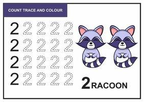 Zählspur und Farbe Waschbär Nummer 2 vektor