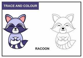 Waschbären verfolgen und färben vektor