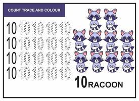 Zählspur und Farbe Waschbär Nummer 10 vektor