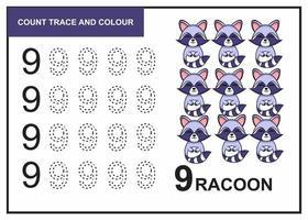 Zählspur und Farbe Waschbär Nummer 9 vektor