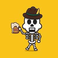 süßes skelett feiern oktoberfest cartoon icon illustration vektor