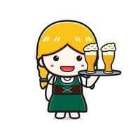 süßes Mädchen feiern Oktoberfest-Cartoon-Symbol Illustration vektor