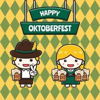 süße oktoberfest feier banner cartoon icon illustration vektor