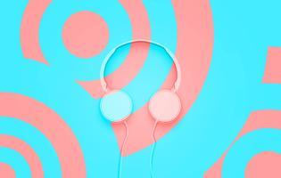 Realistisches 3D teilte Pastellkreis farbige Kopfhörer mit Drähten
