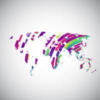 Abstrakt världskarta med färgglada cirklar för reklam, vektor