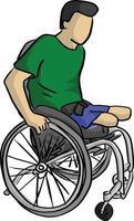 behinderter Mann auf Rollstuhl-Vektor-Illustration vektor