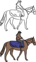 weiblicher jockey auf pferd vektorillustration skizze doodle vektor