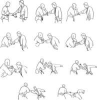 Kampfsport mit Handschloss-Selbstverteidigungsvektor vektor