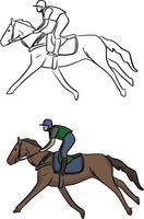 Jockey auf Pferd Vektor Illustration Skizze Doodle