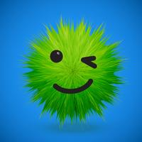 Hochdetaillierter smiley Emoticon des Pelzes 3D, Vektorillustration vektor