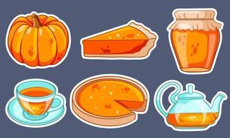 Herbst eingestellt. Kürbis, heißer Tee, Wasserkocher, Becher, Kürbiskuchen, Marmelade. Aufkleber. vektor