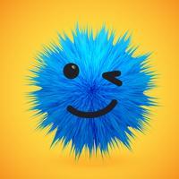 Hög detaljerad 3D päls smiley emoticon, vektor illustration