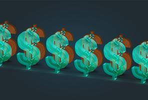 Högt detaljerade trä och glas dollar tecken, vektor illustration