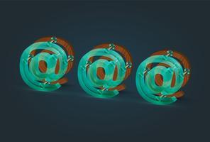 Hoch-ausführliche Holz- und Glas-E-Mail-Charaktere, Vektorillustration