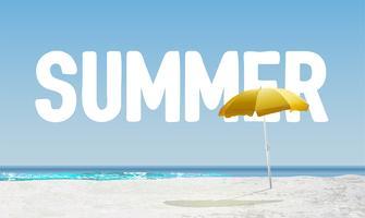 """Hög detaljerad strand med """"SOMMER"""" i bakgrunden, vektor illustration"""