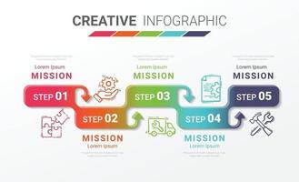 Infografik-Design-Vorlage mit Nummern 5 Option vektor