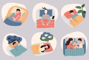 Menschen, die anders schlafen. vektor