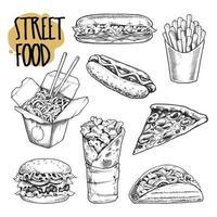 Street Food Retro-Illustrationen Vektor-Set vektor