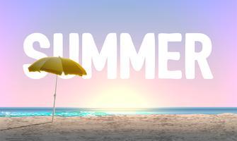 """Hög detaljerad strand vid solnedgången med """"SOMMER"""" i bakgrunden, vektor illustration"""