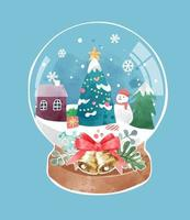 süße kristallkugel mit weihnachtsbaum und schneestadtillustration vektor