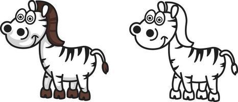 buntes und schwarz-weißes Zebra für Malbuch vektor