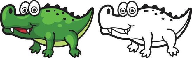 bunter und schwarz-weißer Alligator für Malbuch vektor