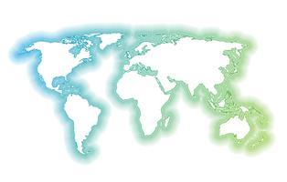 Bunte Weltkarte gemacht durch Bälle und Linien, Vektorillustration