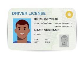 Führerschein. einen Plastikausweis. Vektor