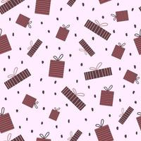 Vektor nahtlose Muster mit Geschenkboxen im Cartoon-Stil.