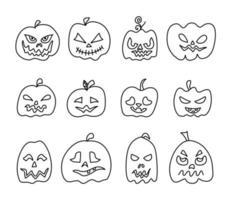 Doodle Kürbisse mit Gesichtern für Halloween. vektor