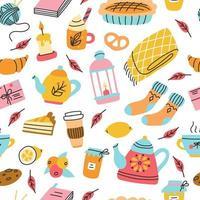 Tee, eine Decke, eine Torte, Kekse und Marmelade. Herbst Vektor nahtlose Muster