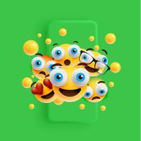 3D och olika slags uttryckssymboler med matt smartphone, vektor illustration