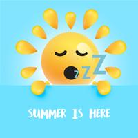 "Lustiger Sonnensmiley mit dem Titel ""Sommer ist hier"", vektorabbildung vektor"
