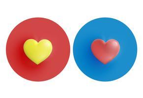 Gula och röda hjärtan på cirkel, vektor illustration