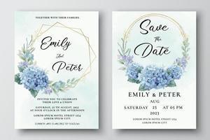 Hochzeitseinladungsvorlage mit Hortensienblüten vektor