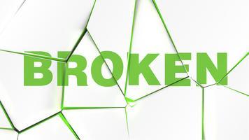 Ord av 'BROKEN' på en trasig vit yta, vektor illustration