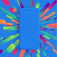 Realistisk matt smartphone med färgstark bakgrund, vektor illustration