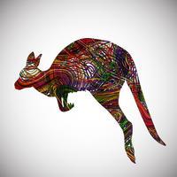 Färgglada känguru gjord av linjer, vektor illustration